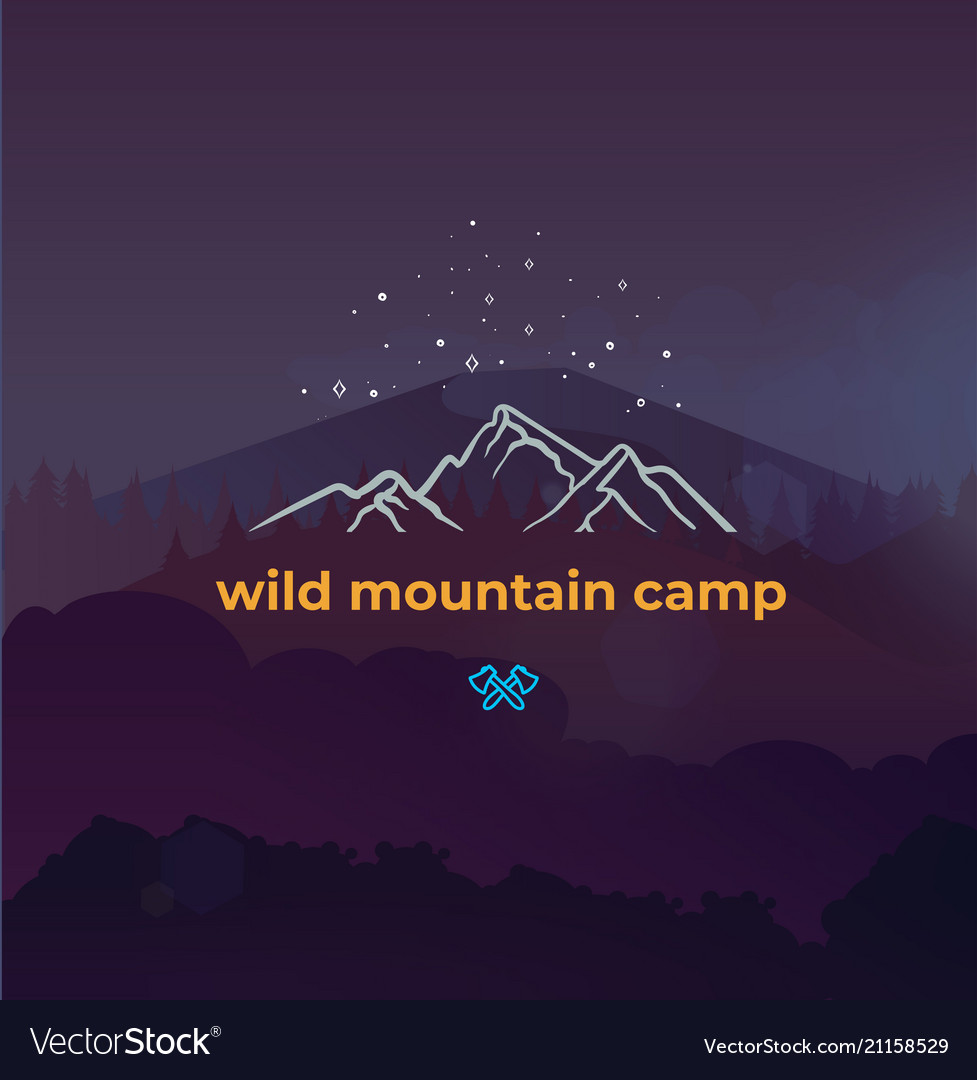 Wild mountain camping and adventure forest badge
