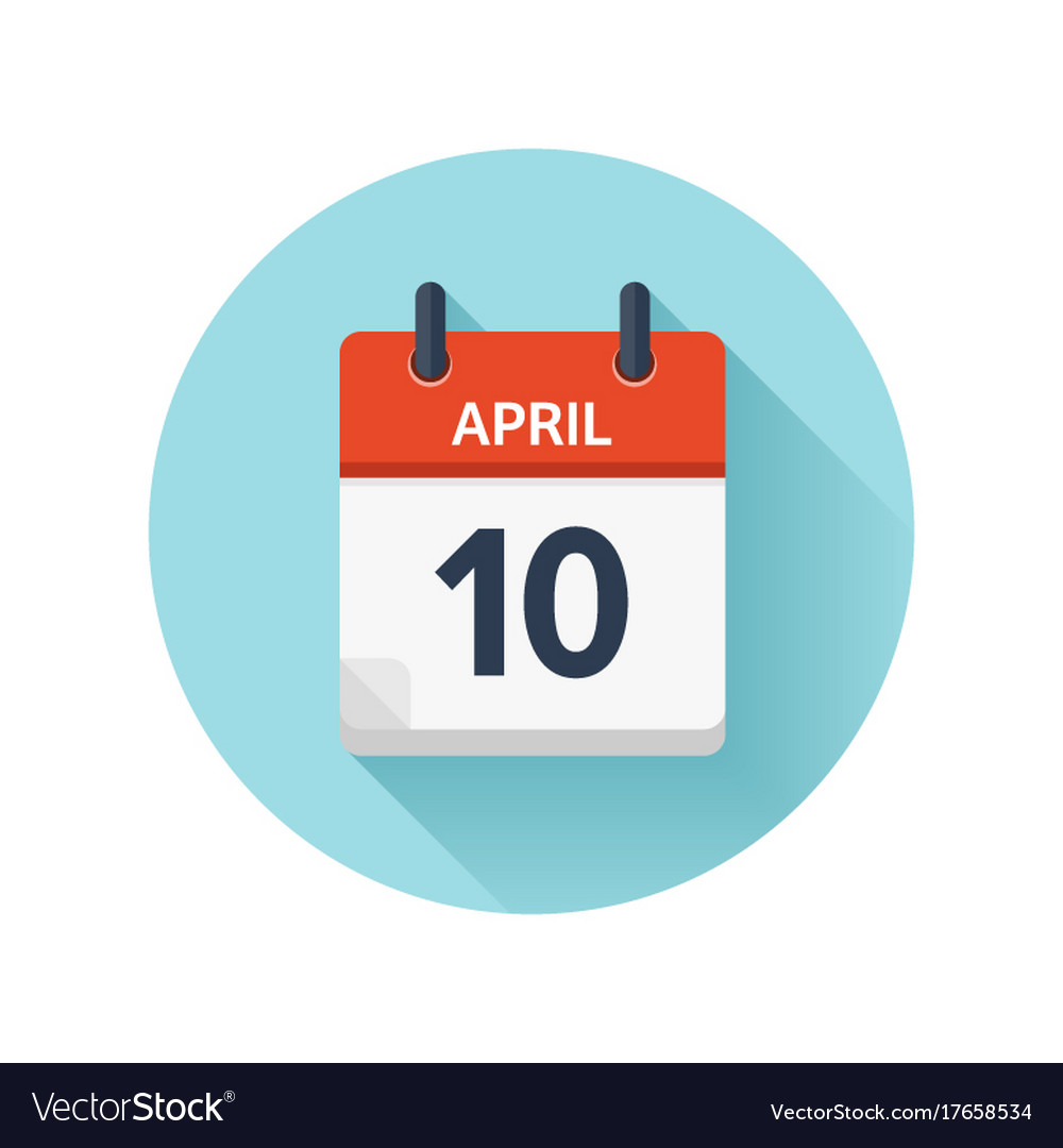 April 10 Flat Daily Calendar Icon Date Royalty Free Vector