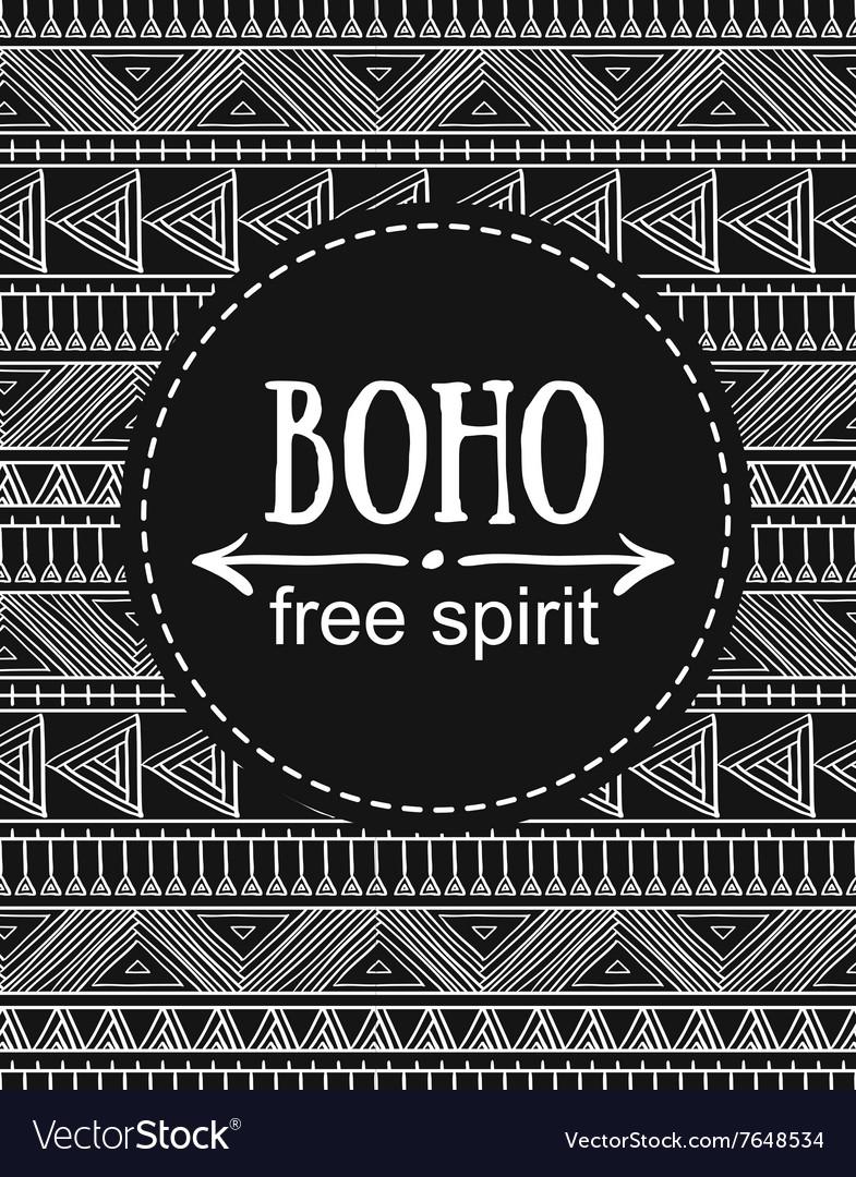 Hand drawn Boho style card Tribal design