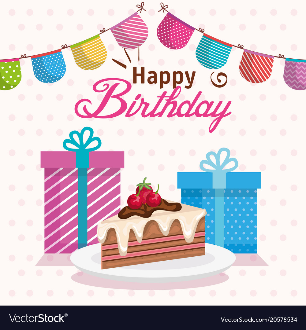 Excellent Happy Birthday Cake Portion With Ts Royalty Free Vector Birthday Cards Printable Trancafe Filternl