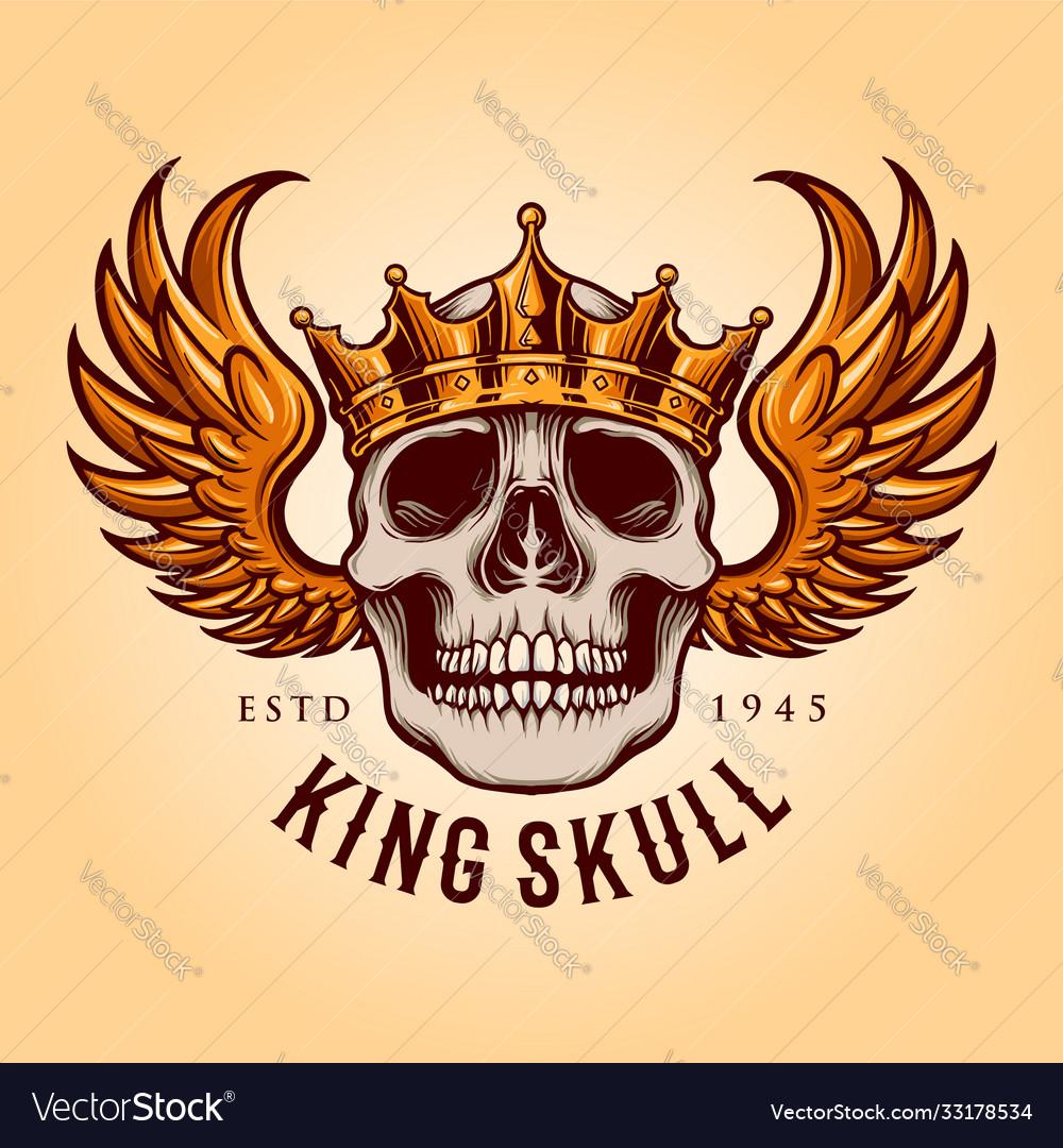 King skull with flying logo mascot