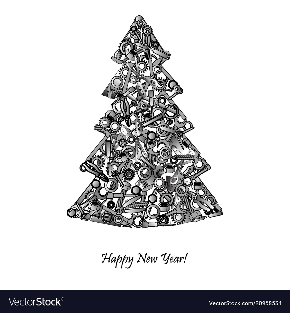 new year tree from hand tools unusual design vector image vectorstock