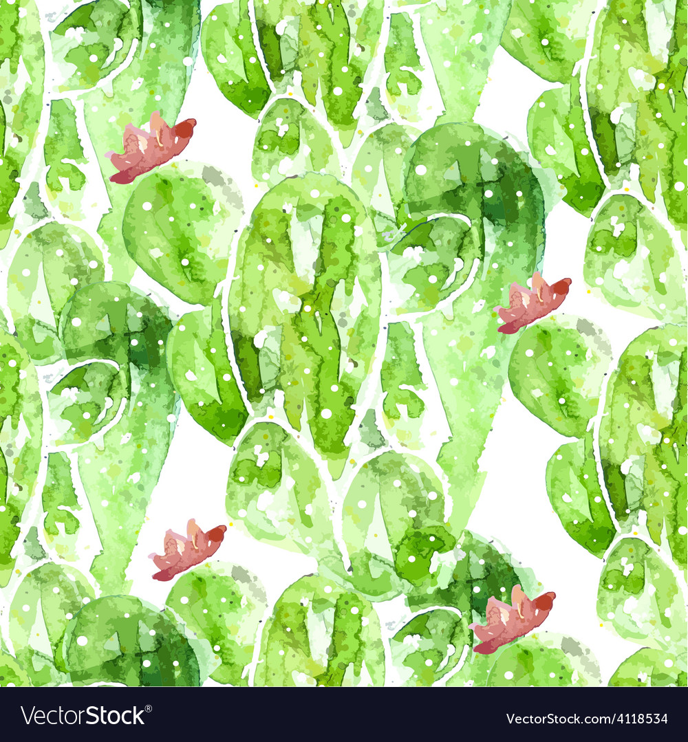 Seamles watercolor cactus background