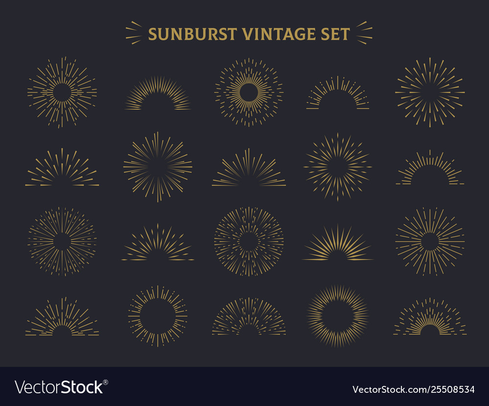 Sunburst set hand drawn sunrise firework sunset