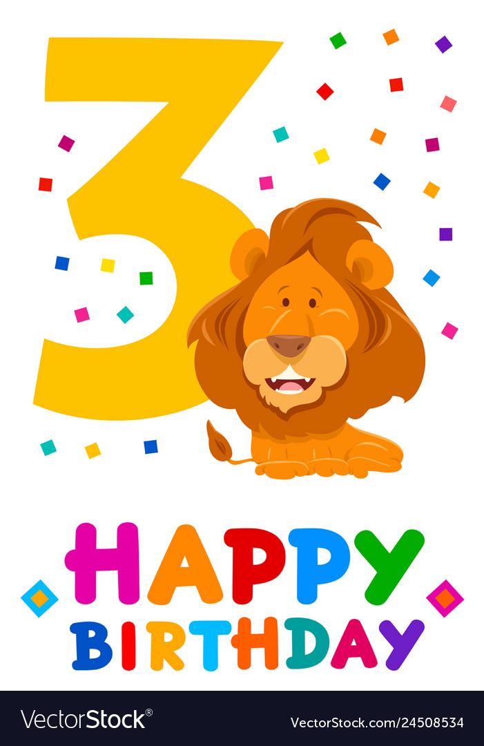 Third birthday cartoon greeting card design