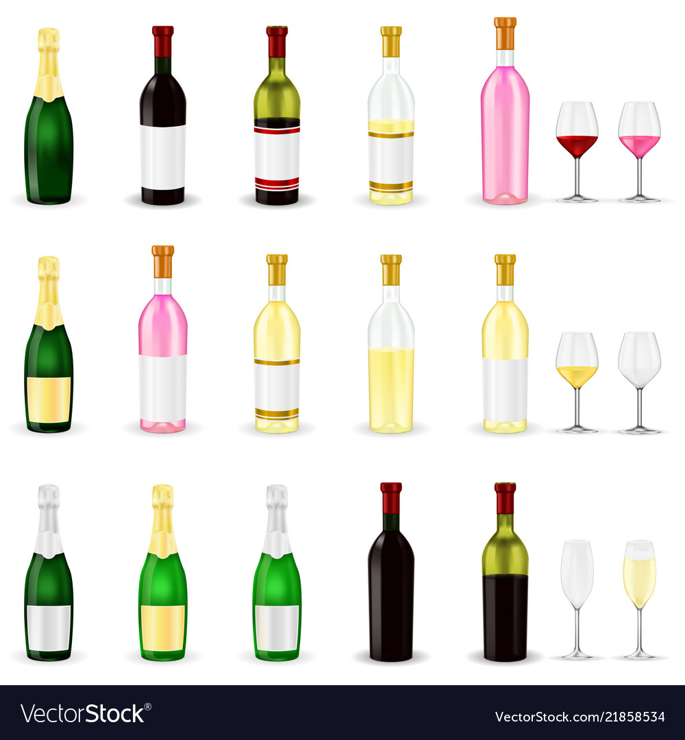 Wine set of 3d wine and champagne bottles and