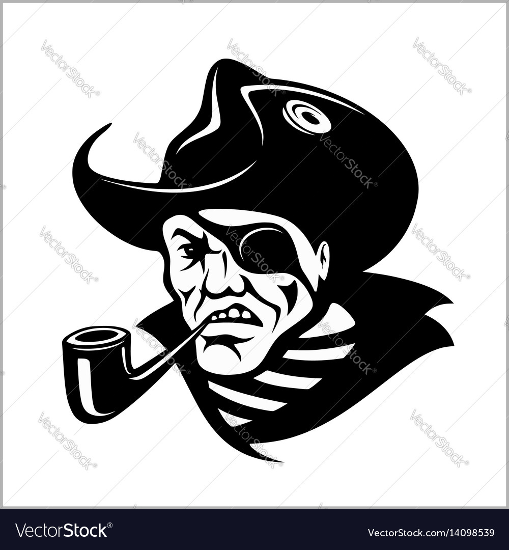 Angry pirate with pipe portrait pirate