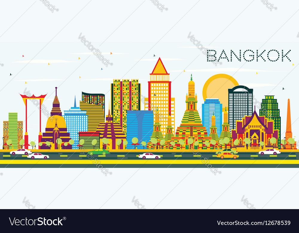 Bangkok Skyline with Color Landmarks