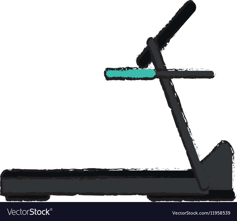Drawing treadmill machine sport fitness vector image