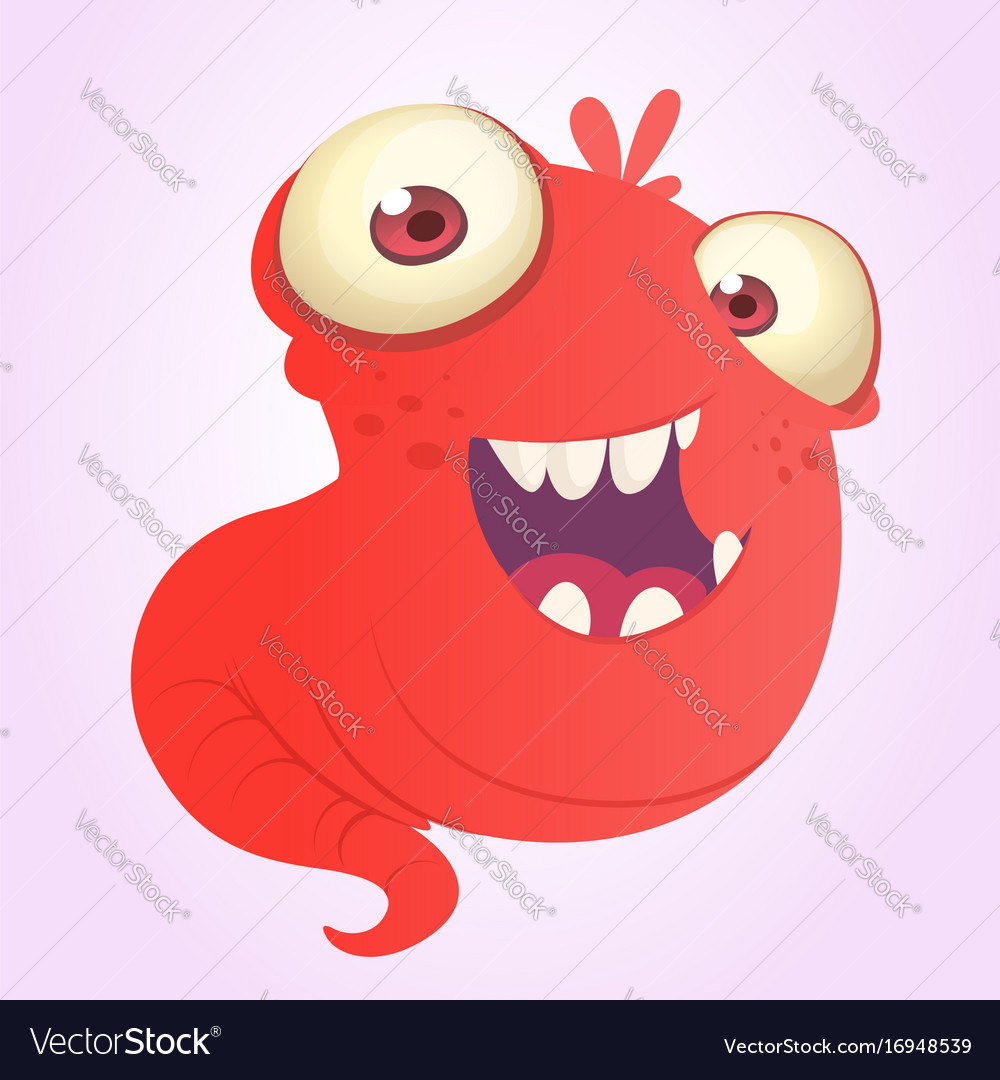 Funnny Cartoon Blob Slimy Monster Laughing Vector Image