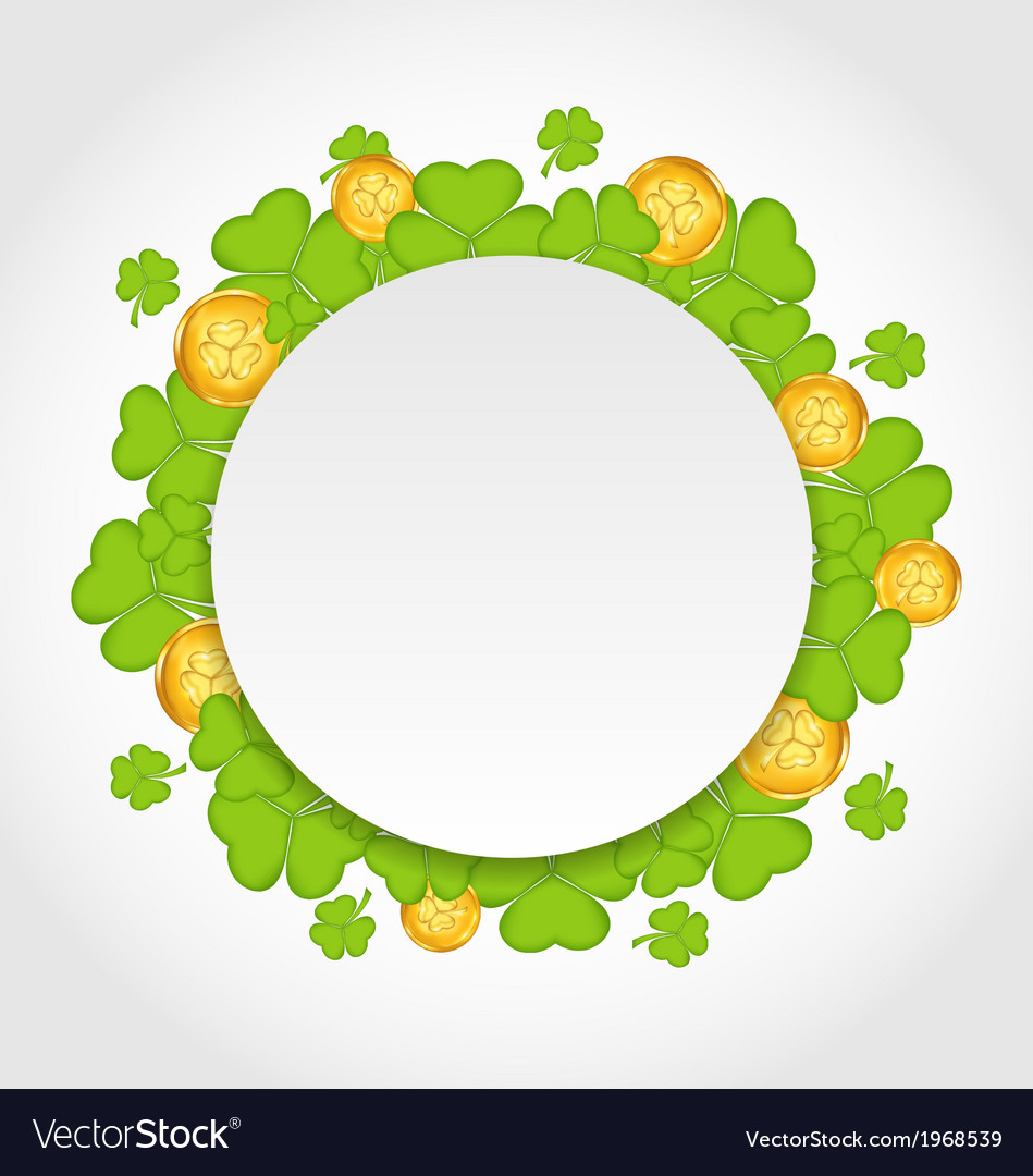 Greeting card with shamrocks and golden coins for