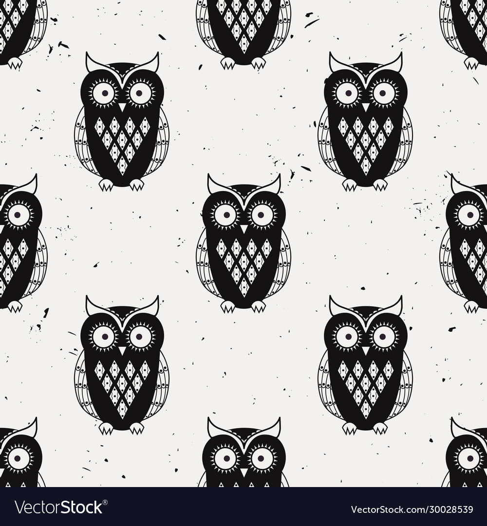 Grunge monochrome seamless pattern with cute owls