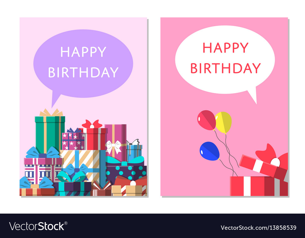 Happy birthday greeting card design set