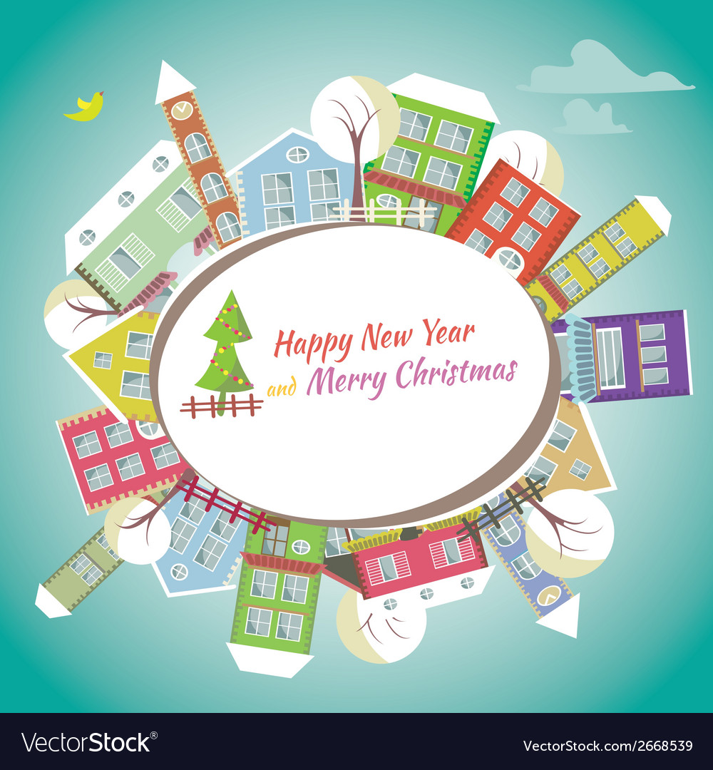 happy new year greeting card home background vector image