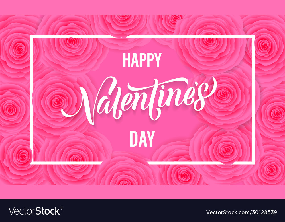 Happy valentine day floral greeting card pink