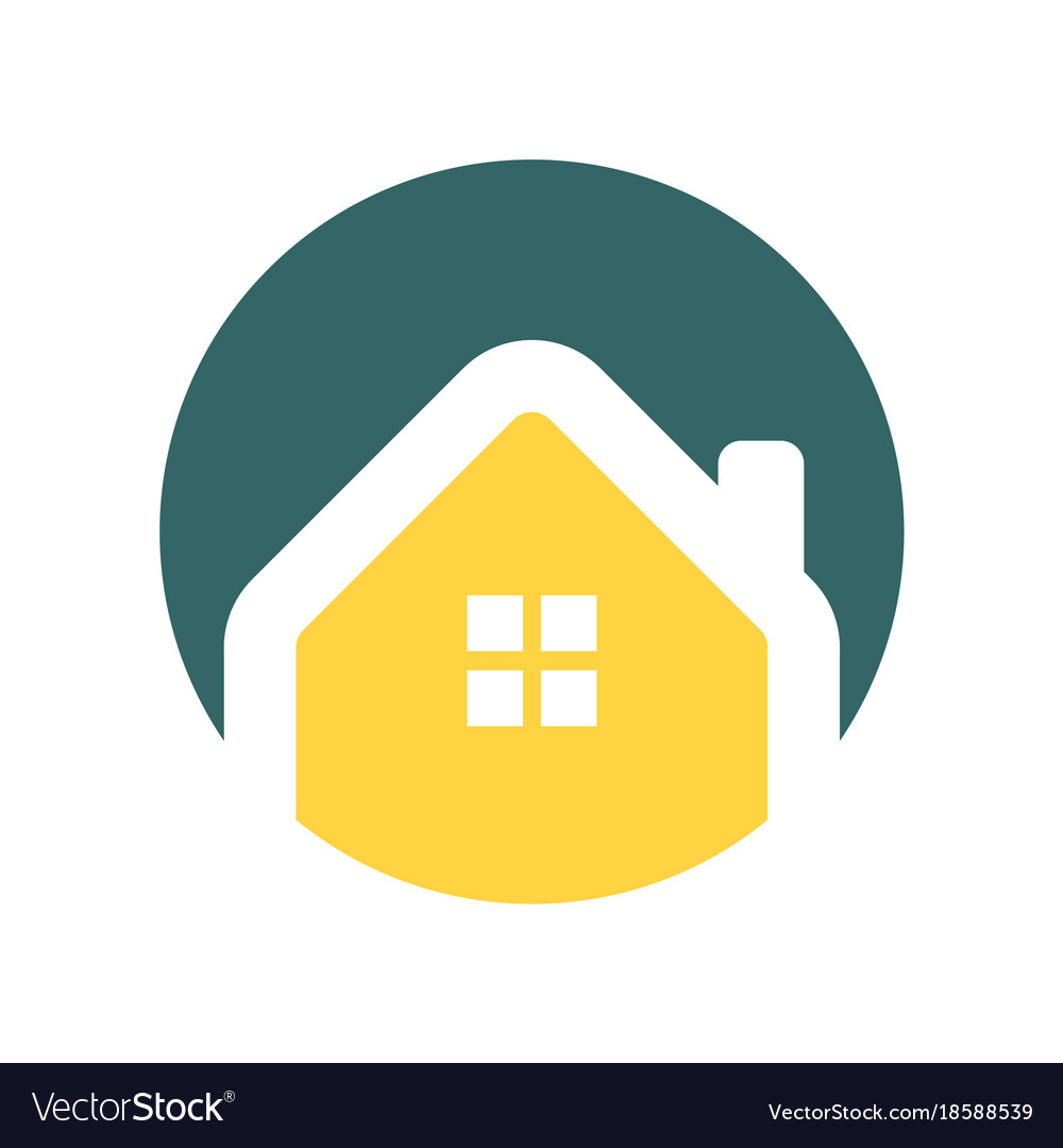 Minimalist House Circle Icon Royalty Free Vector Image