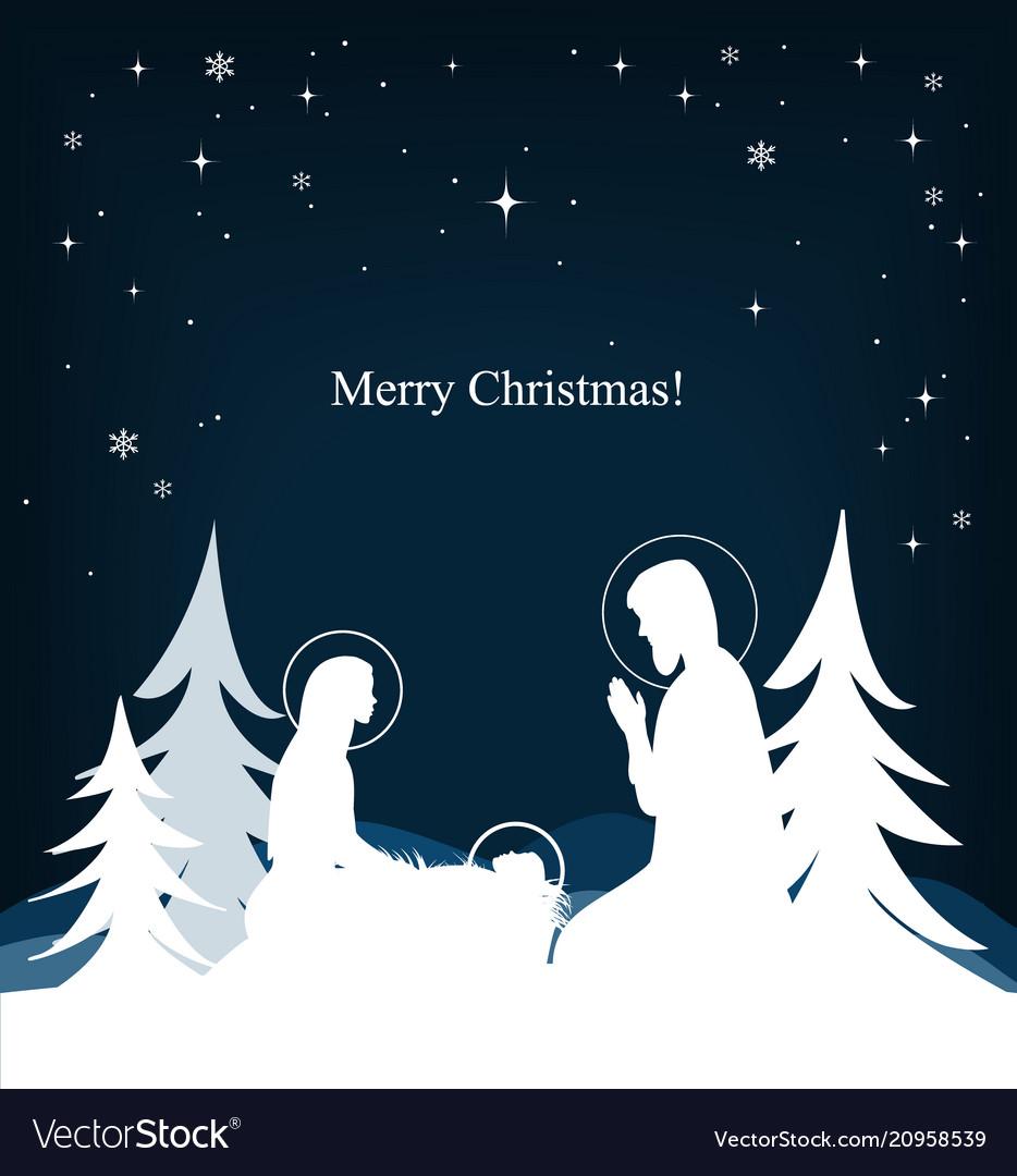 Nativity scene mary jesus and joseph silhouettes