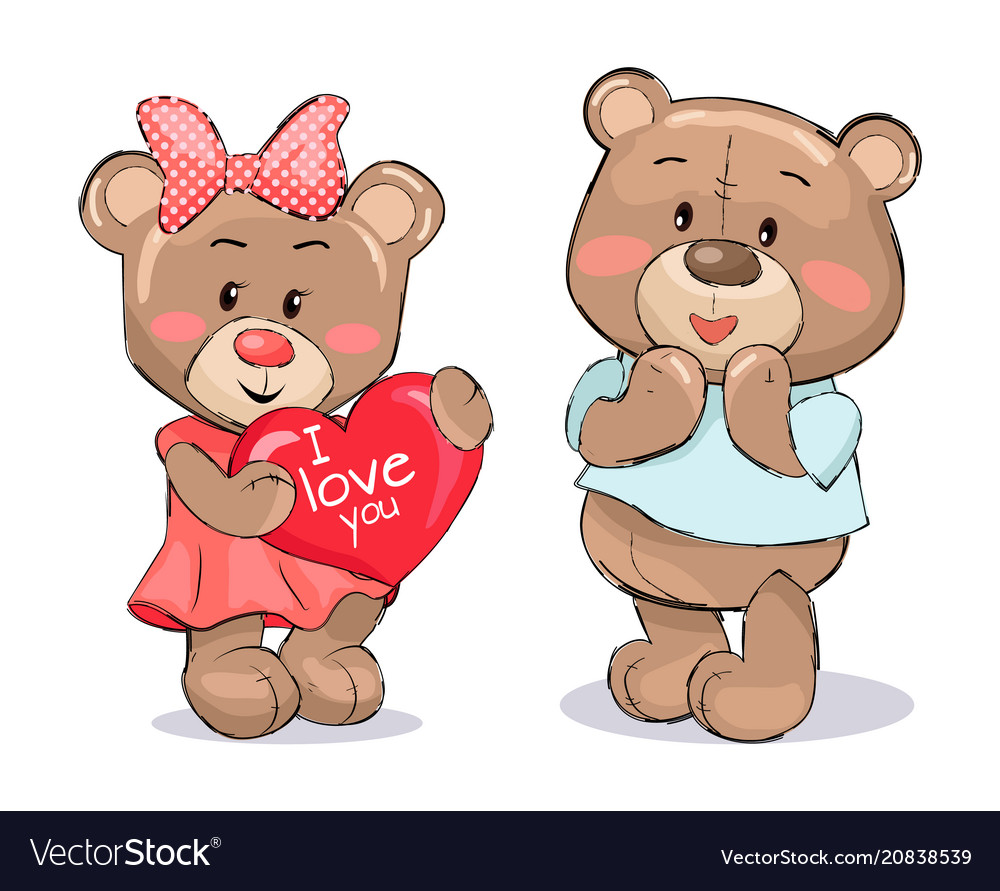 Pair of soft fluffy teddies holds heart with text