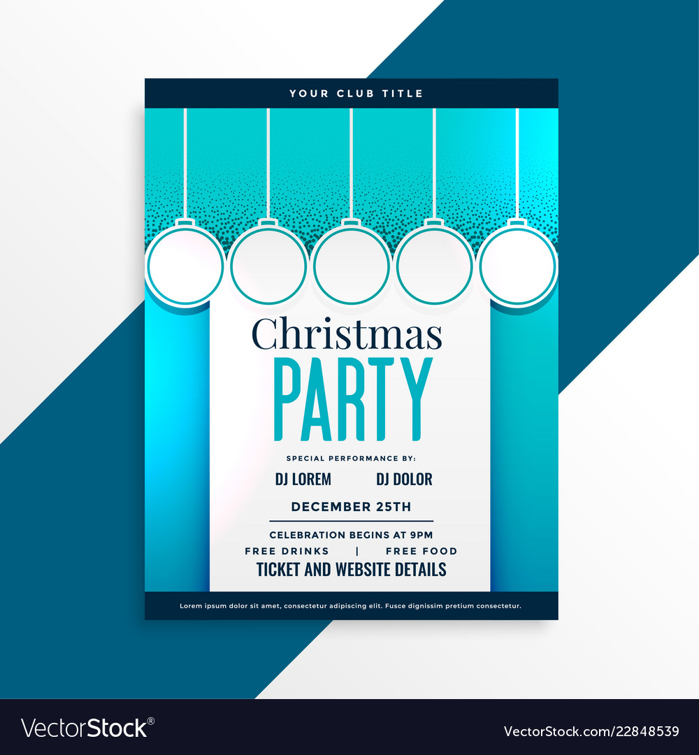 party flyer design for christmas festival vector image