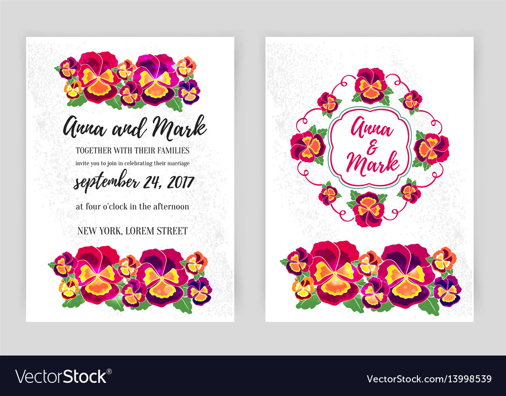 Set of floral wedding invitations design
