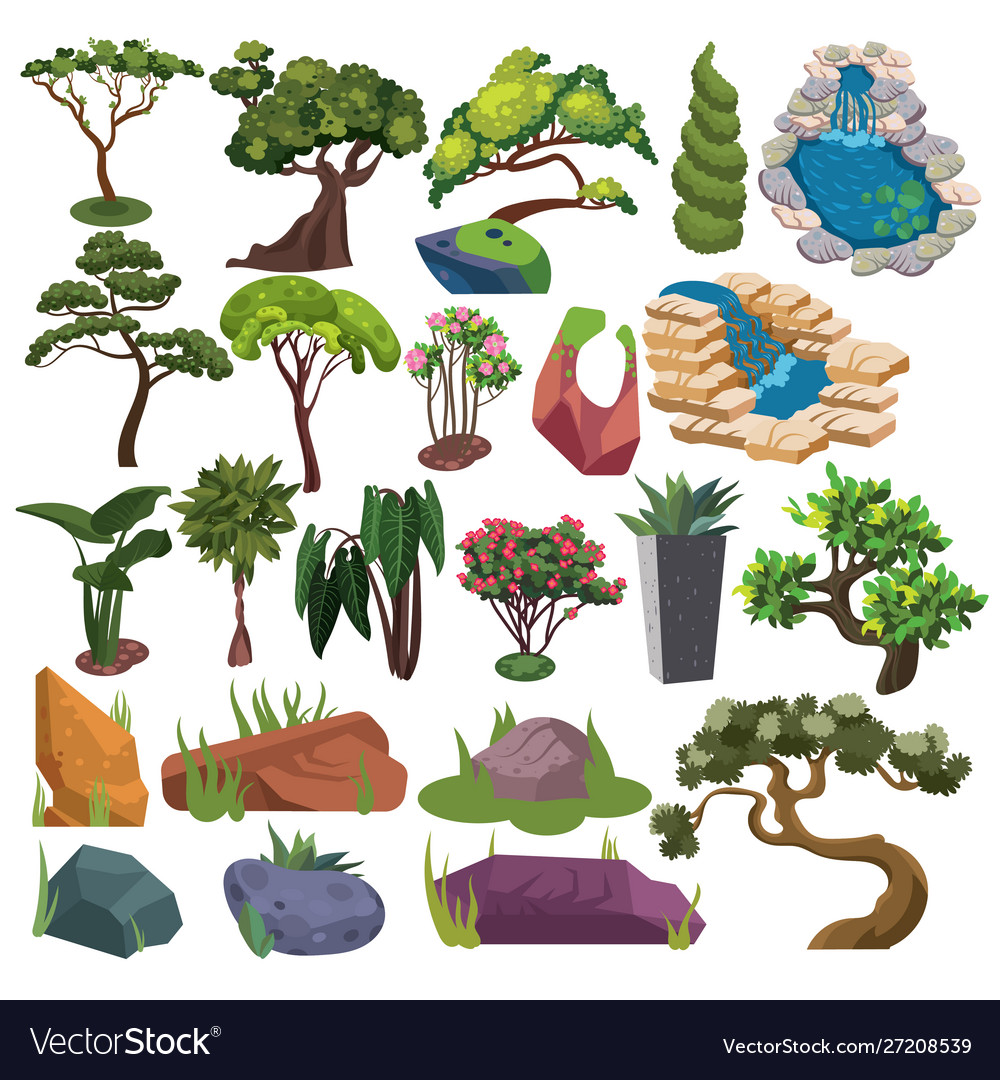 Set trees and shrubs collection landscape