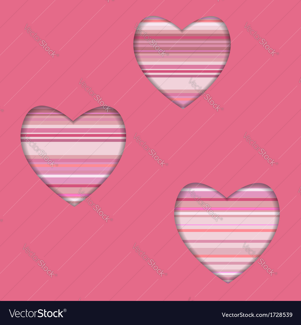 Valentine card with striped hearts