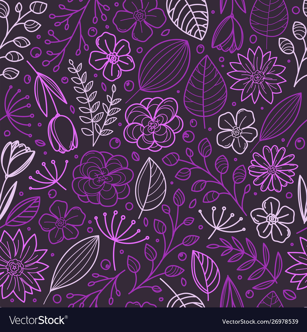 Violet floral seamless background template for a