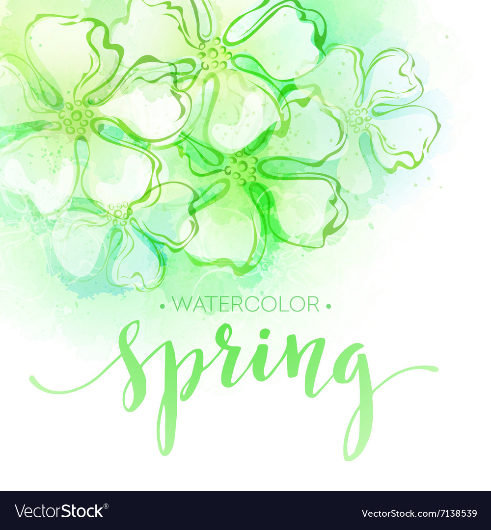 Watercolor spring flower background vector image