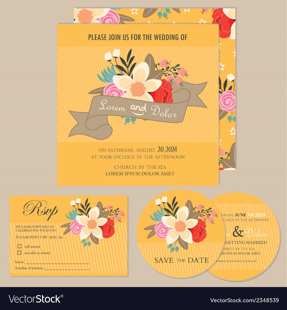 Wedding Invitation Set With Flowers
