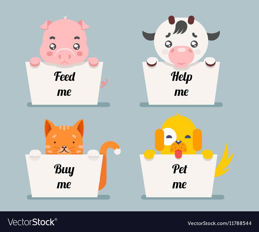 Beggar animals help cat dog pig cow cartoon flat vector image