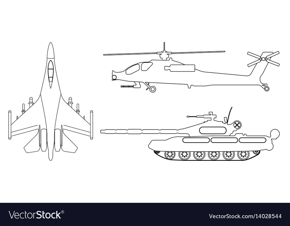 Fighter aircraft tank helicopter outline