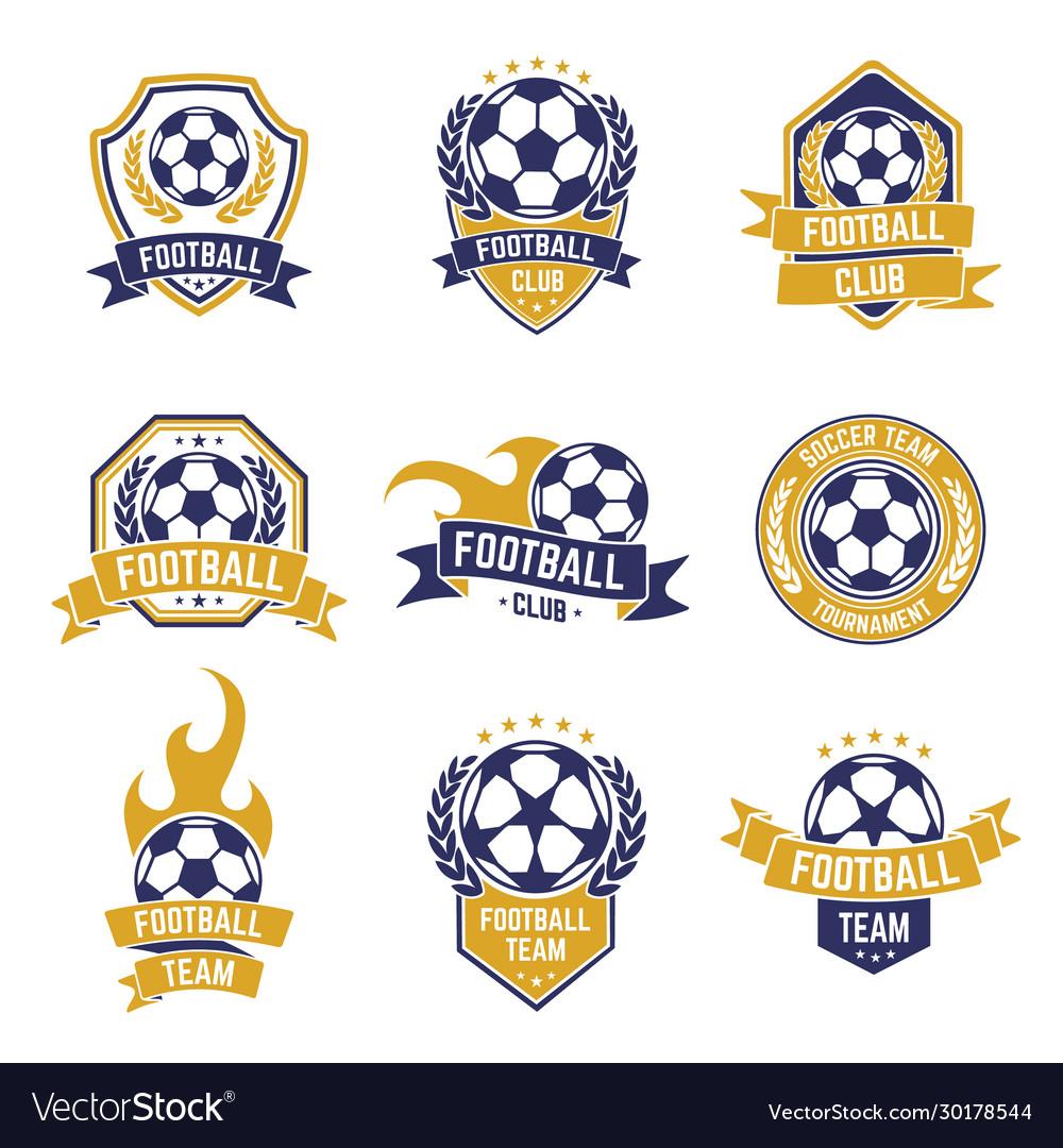 Football team labels soccer ball club logo sport