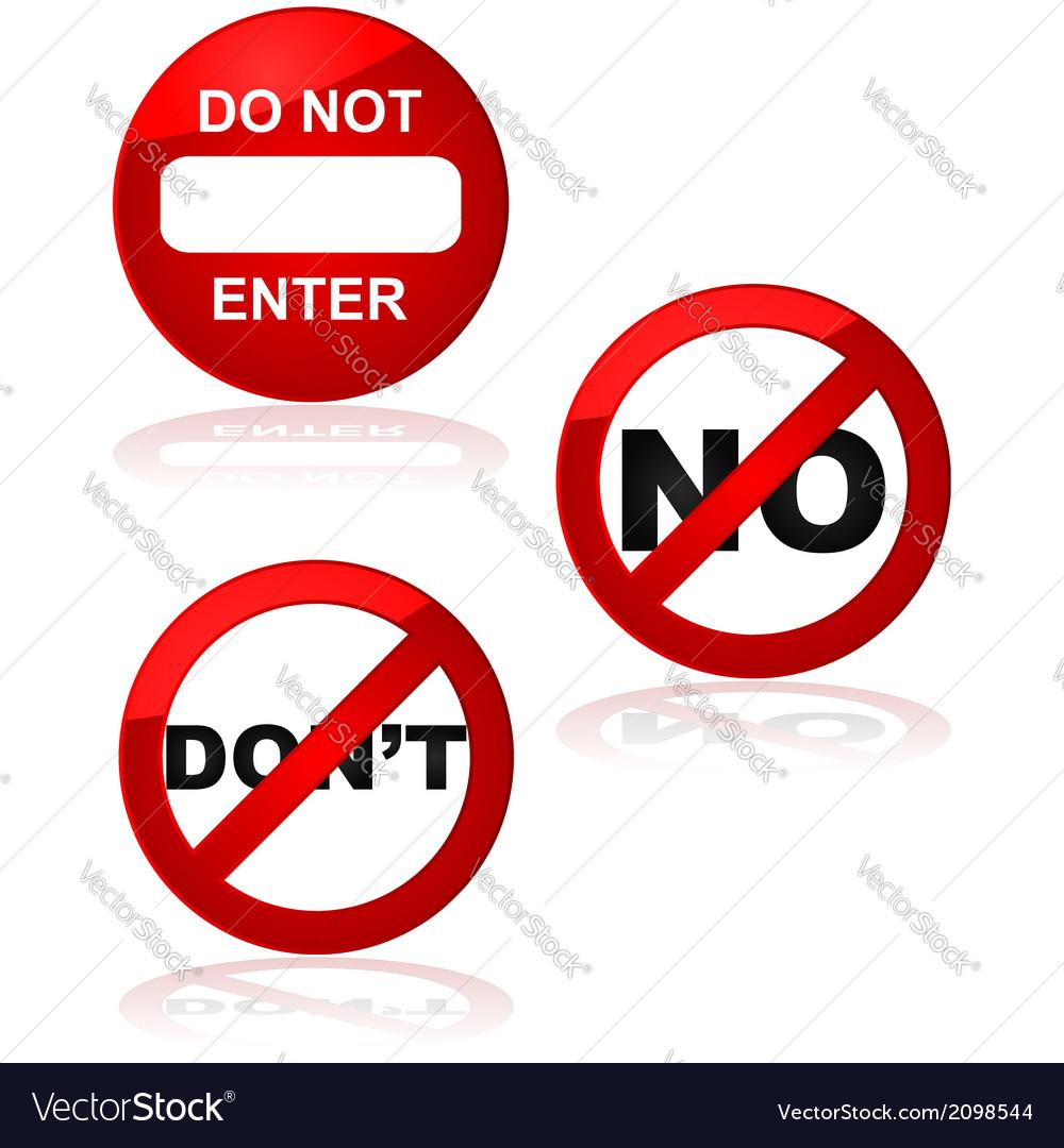 Forbidden signs vector image