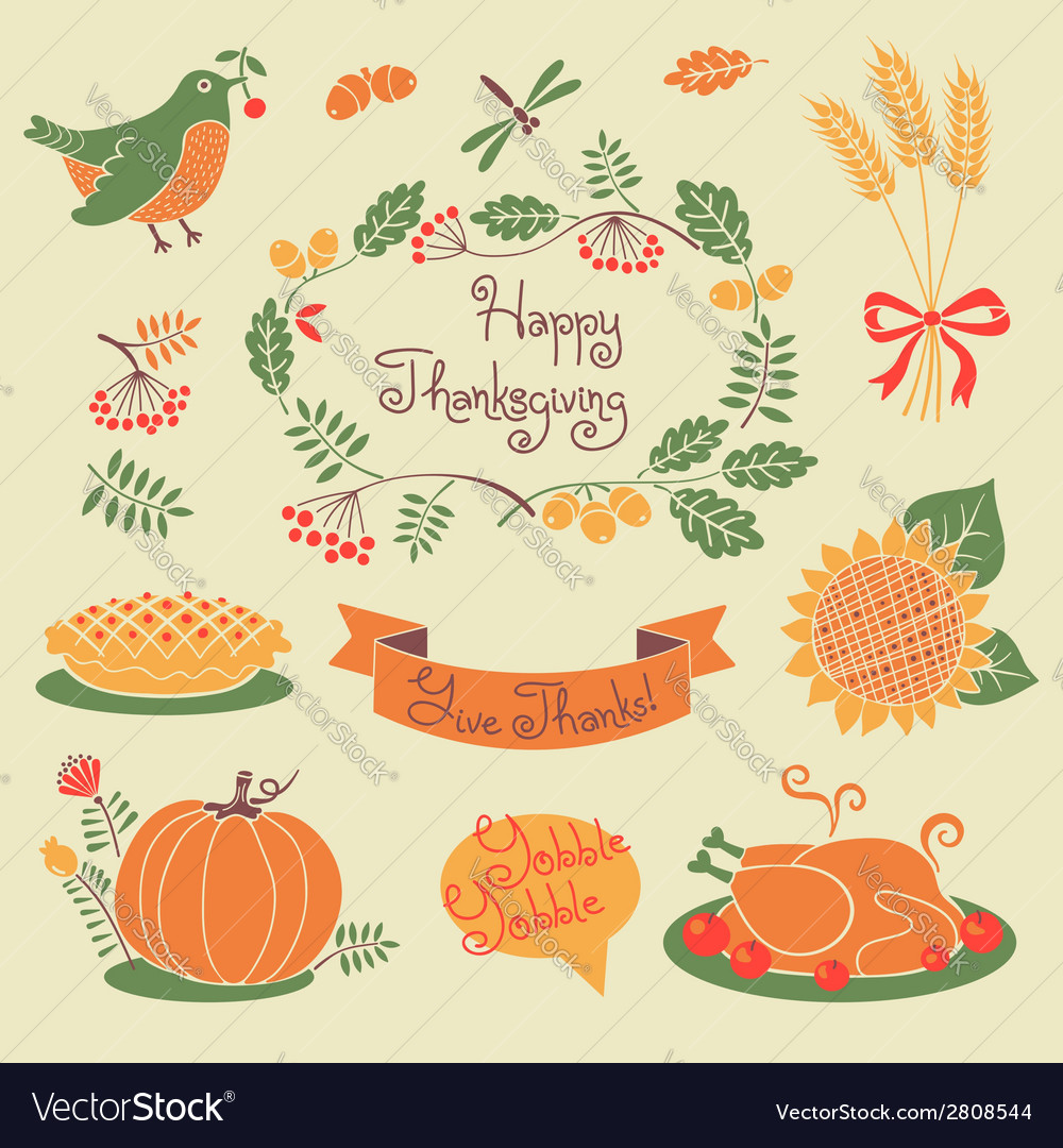 Happy Thanksgiving set of elements for design