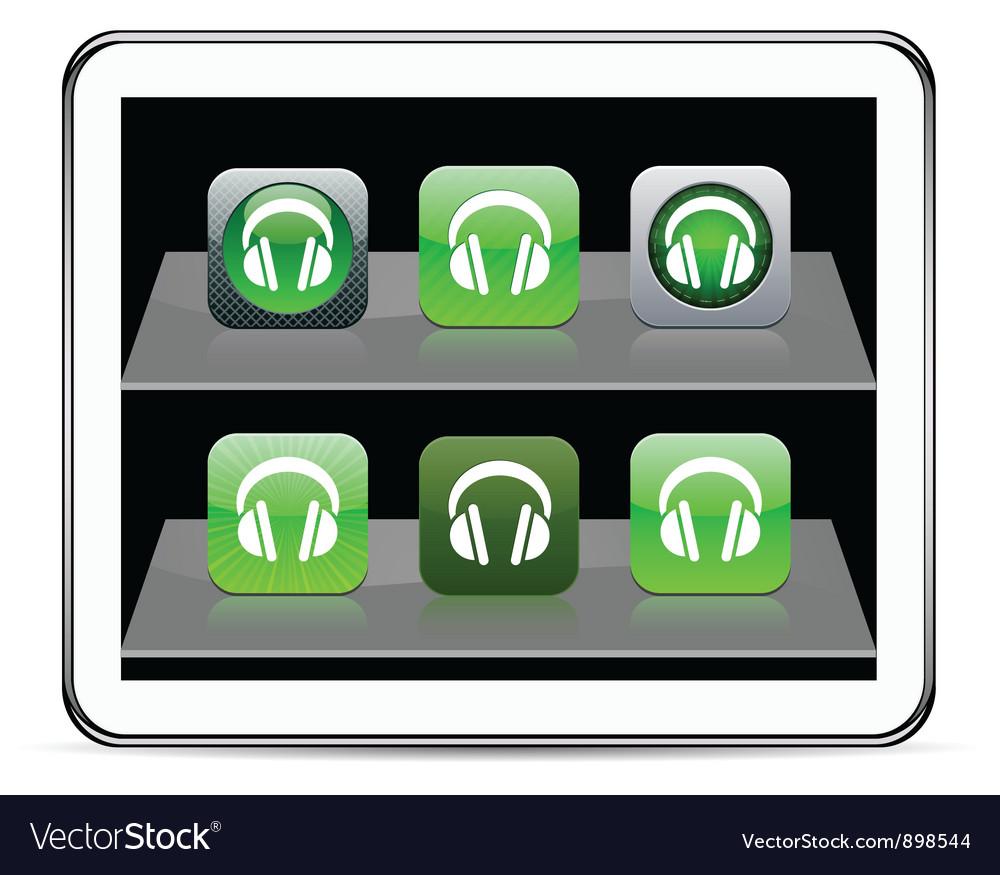 Headphones green app icons