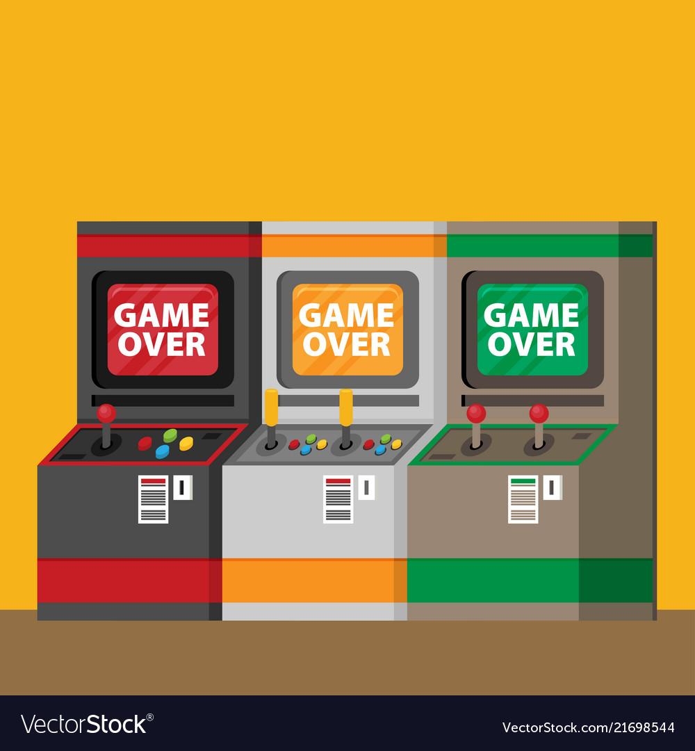 Retro arcade machine set flat style