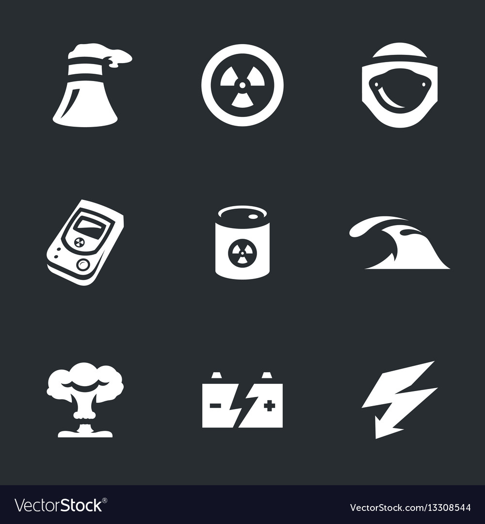 Set of nuclear power icons vector image