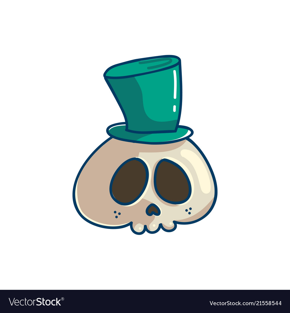 Skull with cyllinder hat