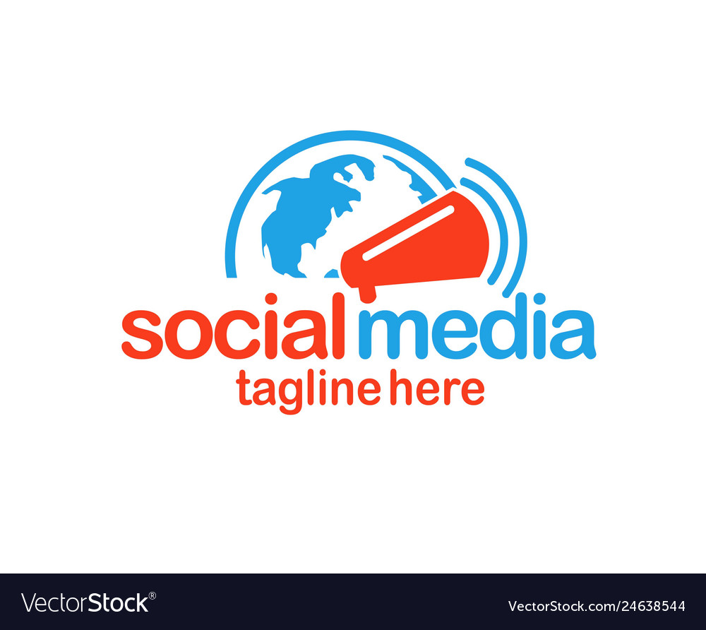 Social media logo globe and megaphone