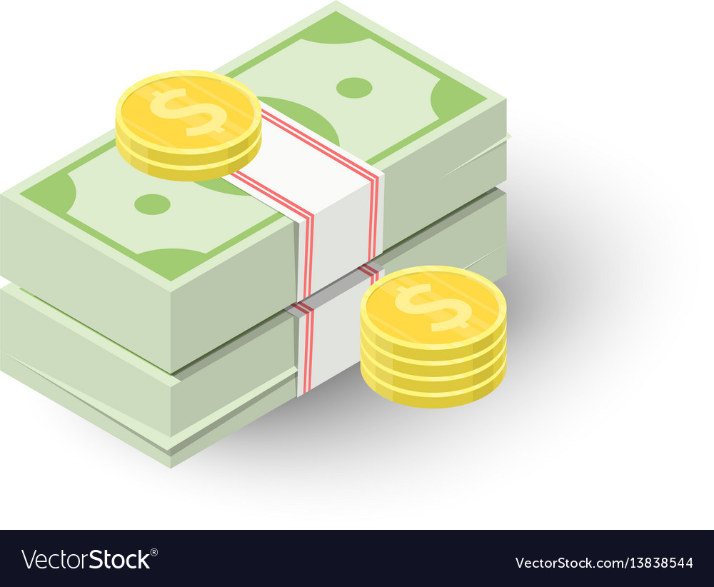 Two stacks of money and coins icon vector image