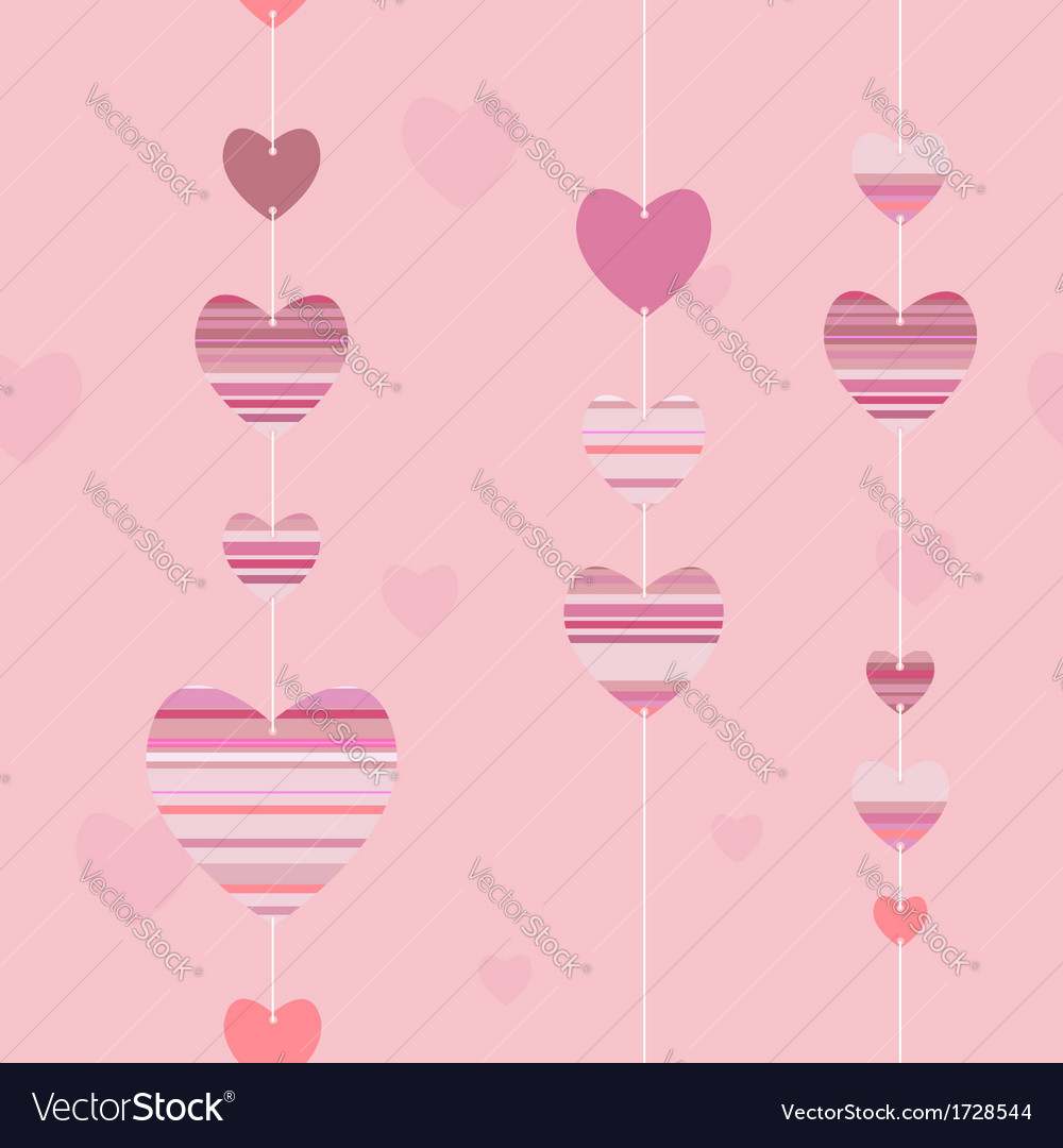 Valentine pattern with striped hearts