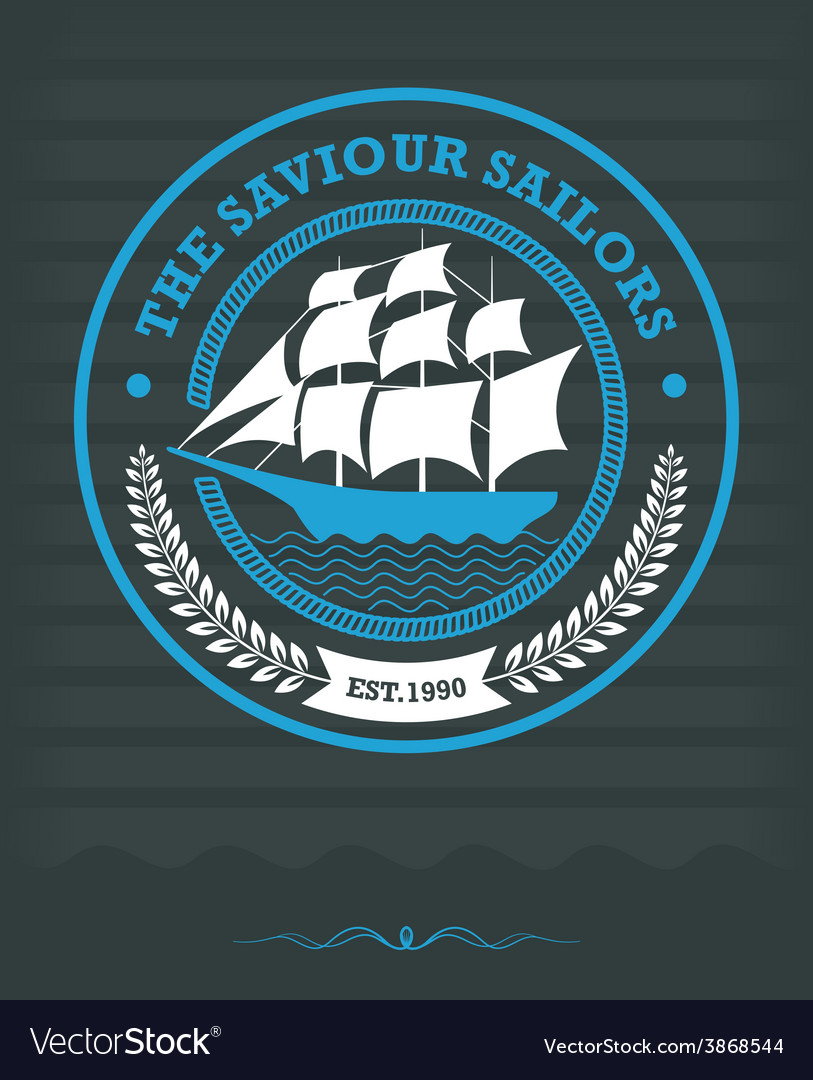 Vintage Nautical Label with Sailing Ship