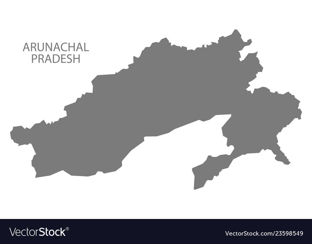 Arunachal pradesh india map grey