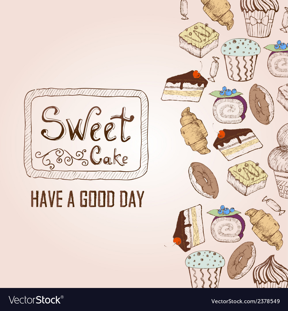 Background with cakes Decorative sketch