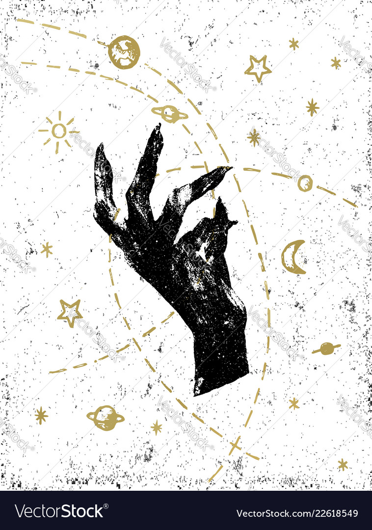 Black witchs hand with cosmos on white textured