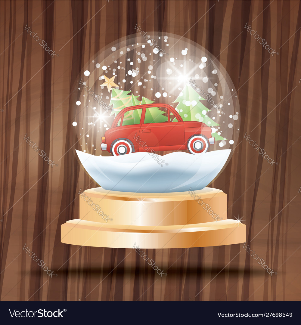 Christmas crystal ball with snow and red car