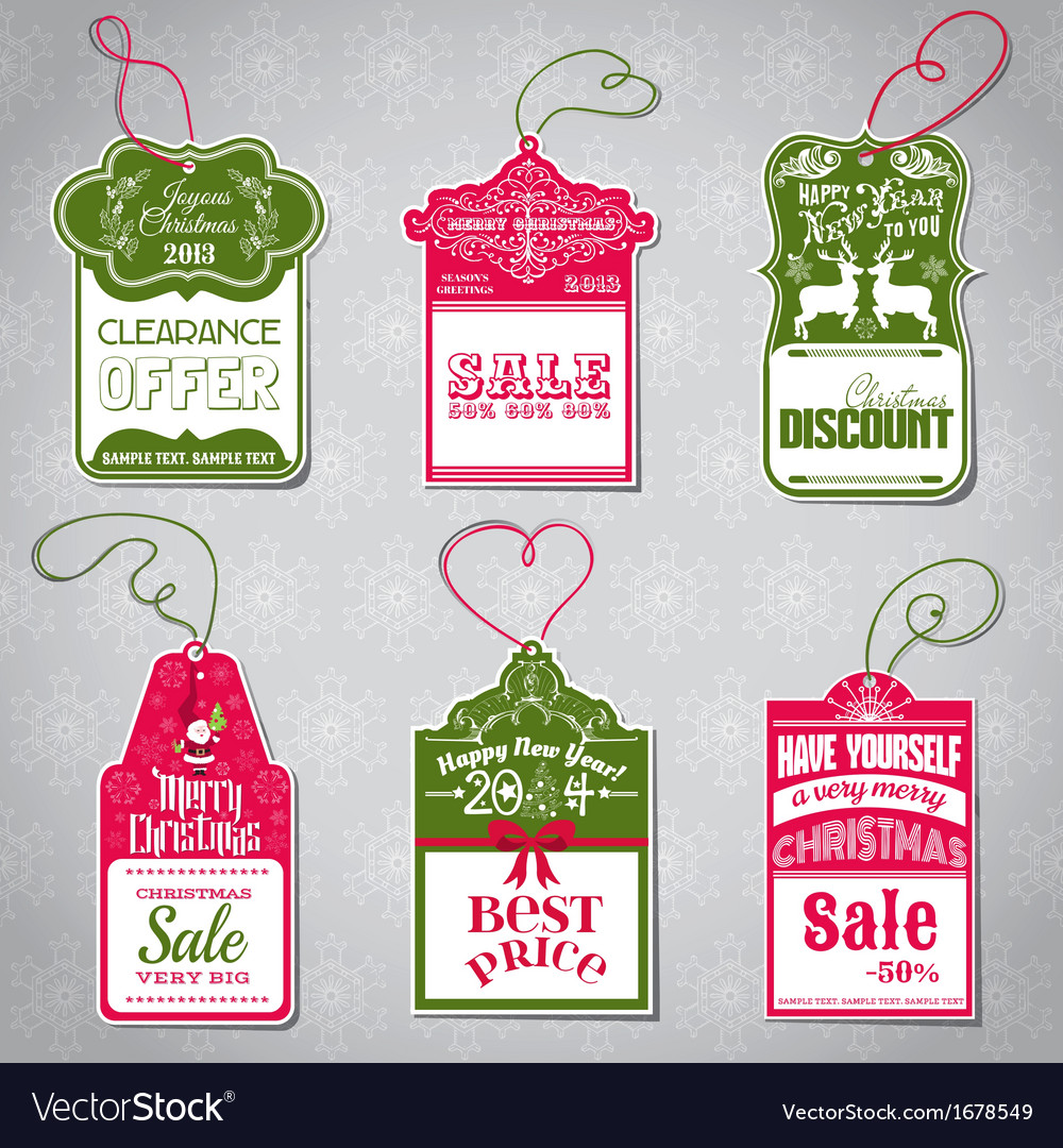christmas sale tags vector image - Best After Christmas Sale