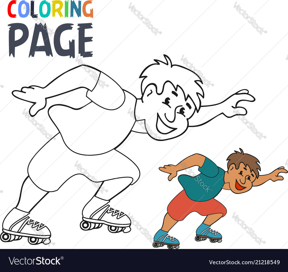 coloring page with roller skates player cartoon vector