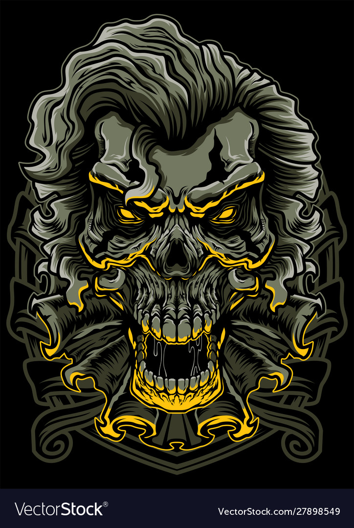 Evil clown skull vector