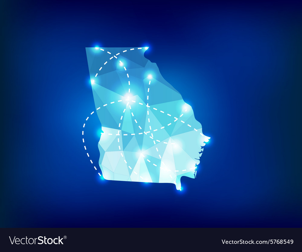Georgia US state map polygonal with spot lights